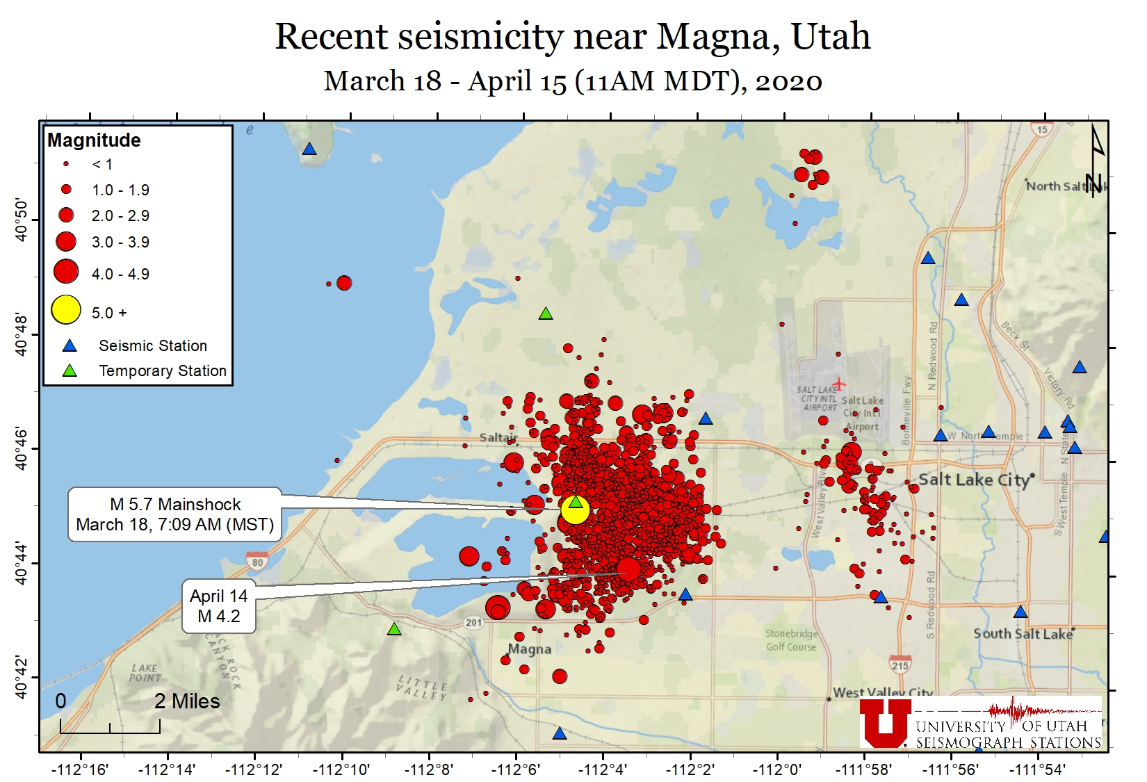 Map of recent seismic activity near Magna, Utah