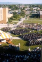 Commencement ceremony by the quad