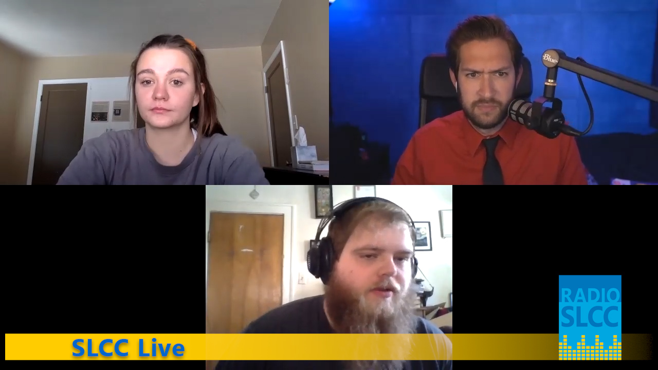 Three students on radio show via Zoom