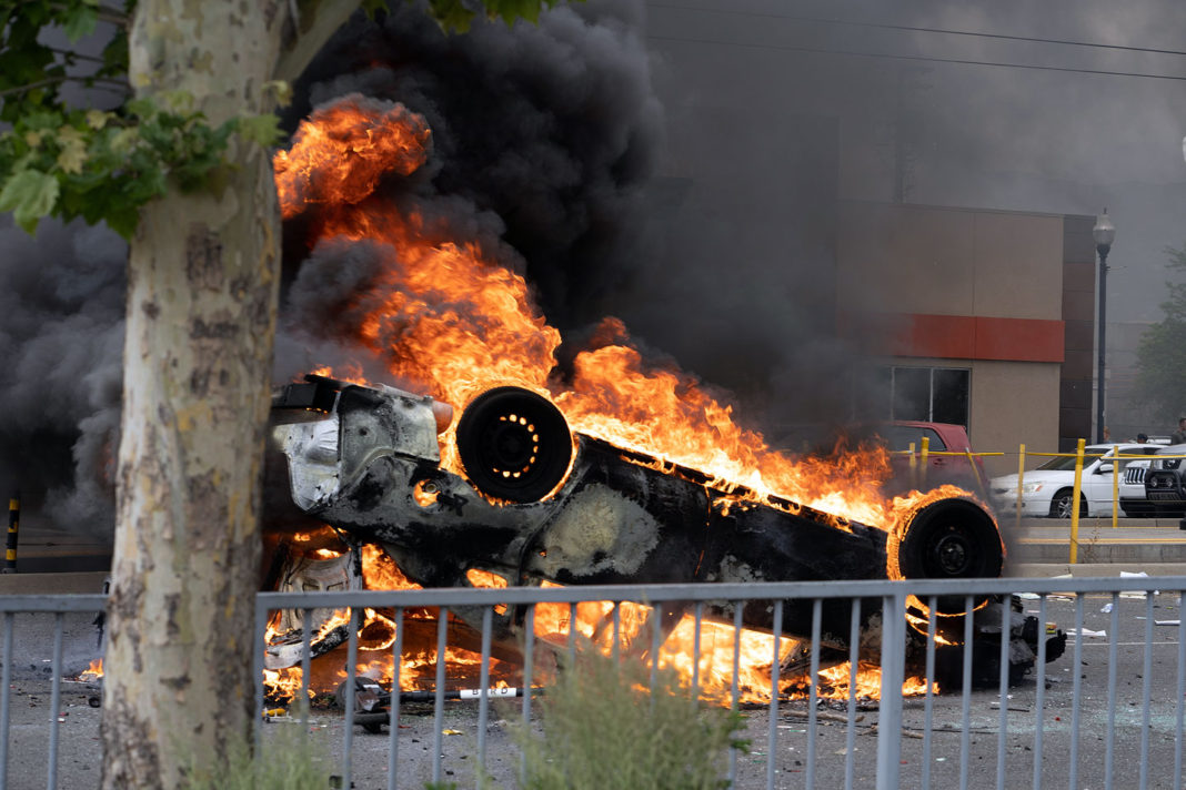 Police car aflame