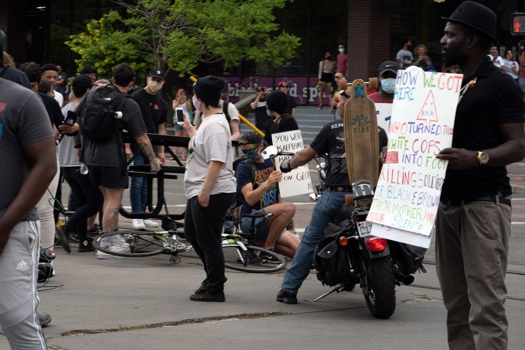 Protesters build a blockade