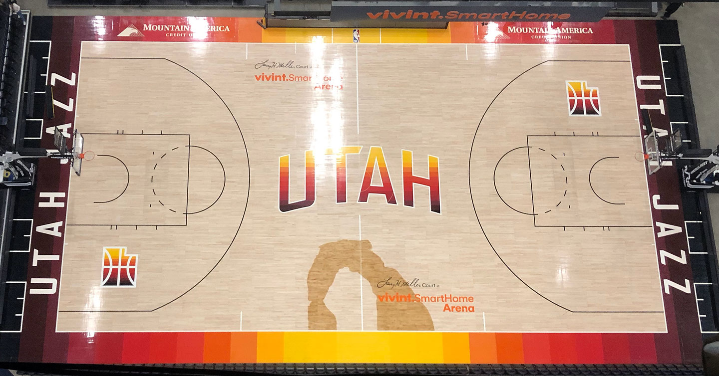 Overhead view of Utah Jazz southern Utah court