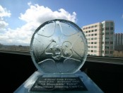 The Best of the 48HFP: Brisbane 2005 trophy, designed by DC glass artist Tim Tate.