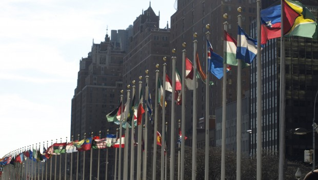 Photo of hundreds of national flags waving outside of UN headquarters in Manhattan