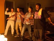 Still from This is the End featuring Seth Rogen, Jay Baruchel, James Franco, and Craig Robinson.