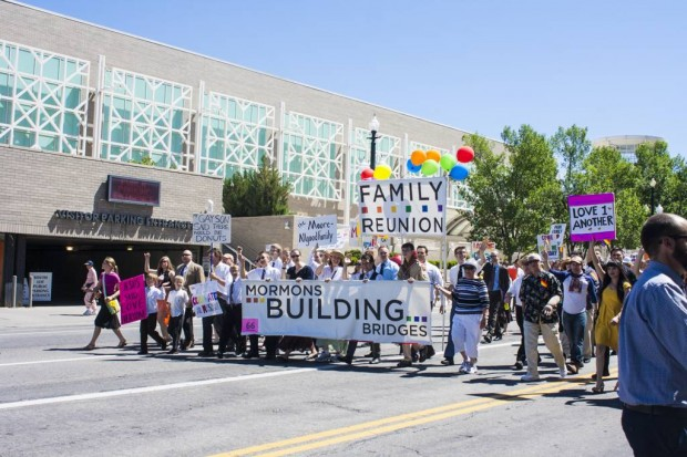 Dressed in church attire, Mormons Building Bridges walked in the parade to show support for the LGBT community.