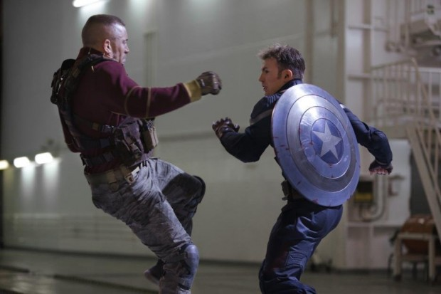 Still from Captain America: The Winter Soldier featuring Chris Evans and George St-Pierre.