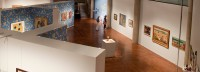 Landscape view of the two level art gallery
