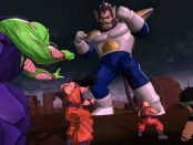 characters facing off against a large opponent