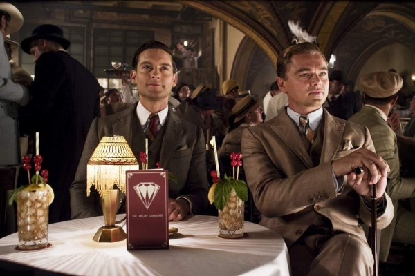Still from The Great Gatsby featuring Tobey Maguire and Leonardo DiCaprio