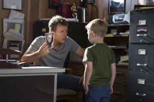 "Still from ""Heaven is for Real"" featuring Greg Kinnear and Connor Corum"