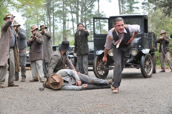 A movie still featuring actors Shia LeBeouf, Tom Hardy and Jason Clarke