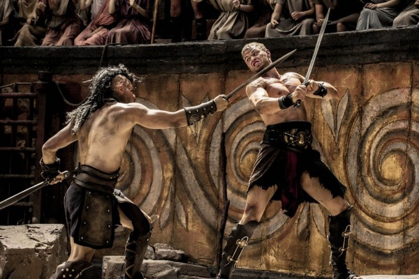 For a depiction of a Greek myth, it feels very Roman don't you think? Pictured: Radoslav Parvanov as the fighter Half-Face (Left) and Kellan Lutz as Hercules (Right)