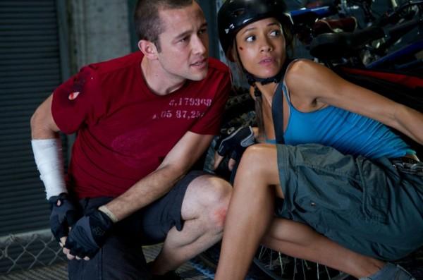 Joseph Gordon-Levitt, left, and Dania Ramirez in 'Premium Rush'