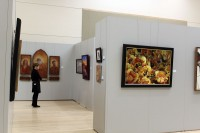 Visitor admires artwork