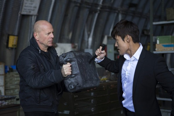 Still from 'Red 2' featuring Bruce Willis, left, and Hun Lee