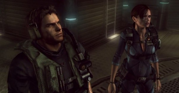 Characters Chris Redfield and Jill Valentine stand side by side