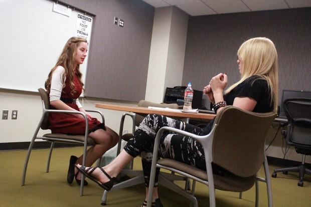 Sara Thompson, left, and Caitlyn Johnston
