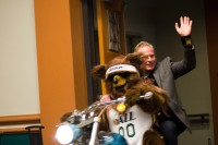 Jazz Bear and Dan Farr on motorcycle