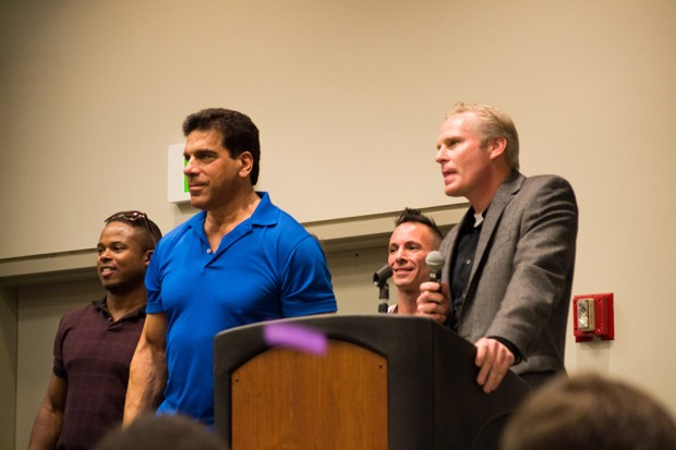 Left to right: Walter Jones, Lou Ferrigno, Noah Hathaway and Dan Farr
