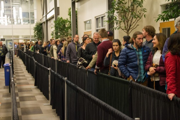 Long line of people inside South City Campus