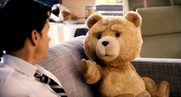 """John Bennet (Mark Wahlberg) and Ted (Seth MacFarlane) from """"Ted."""""""