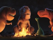 "Nash, Butch and Ramsey visit with Spot and Arlo in a scene from ""The Good Dinosaur"""