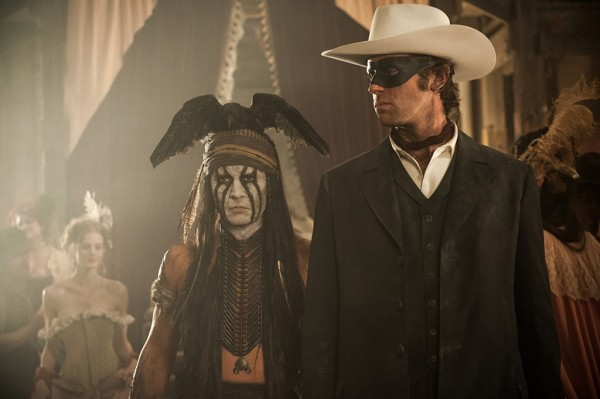 Johnny Depp, left, as Tonto and Armie Hammer as the Lone Ranger.