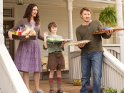 A still from the film featuring the main stars. From left to right: Jennifer Garner, CJ Adams, and Joel Edgerton.