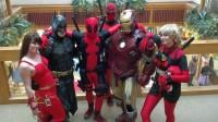 Elektra, Batman, Deadpool, Iron Man and Lady Deadpool visit the Student Center for Anime Salt Lake.