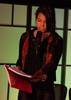 Juliet DeVette reads her part for the Hunger Games Radio Show.