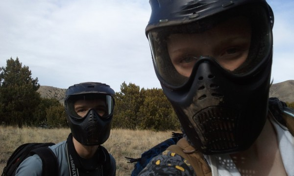 Mark and Jandi with their paintball masks on