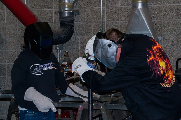 Automotive students welding