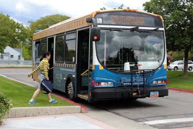Passenger boards B-Line southbound bus