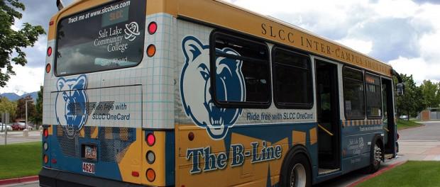 Rear of B-Line shuttle bus