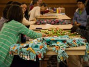 SLCC students making blankets