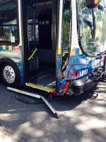 Crash damage to bus
