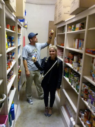 Justin Hughes, left, and Taelor Paxton work inside the Bruin Cupboard