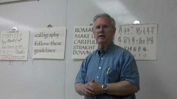 Calligraphy instructor Ron Tate