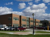Front of the New Media Center that houses the High school Learning