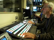 Nick Burns testing the Ross Vision production switcher in new TV Broadcast production control room in CAM.