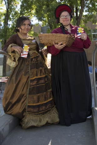 Executive Vice President Justine Tabilgan and Sonia Biggers roaming the South City Campus in period costume