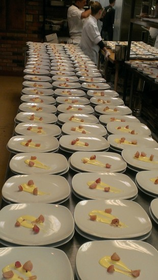 Three long rows of plates with garnishings and sauces upon them in preparation of a meal being prepared.