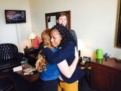 Courtney Jones hugs Rep. Mia Love