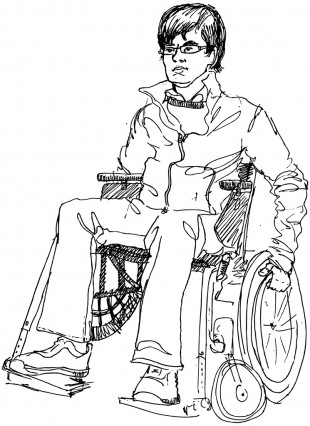 Render of man using wheelchair