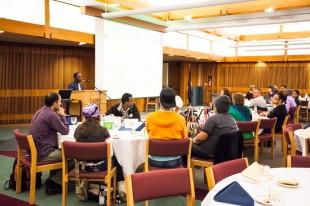 Doctor Abio Ayeliya greets the attendees