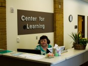 LeAnne Madsen at the eLearning Center desk.
