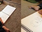 Gideon DiMeglio draws with his feet