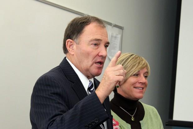 Gov. Herbert with President Huftalin