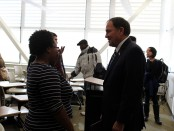Gov. Herbert talks to a student